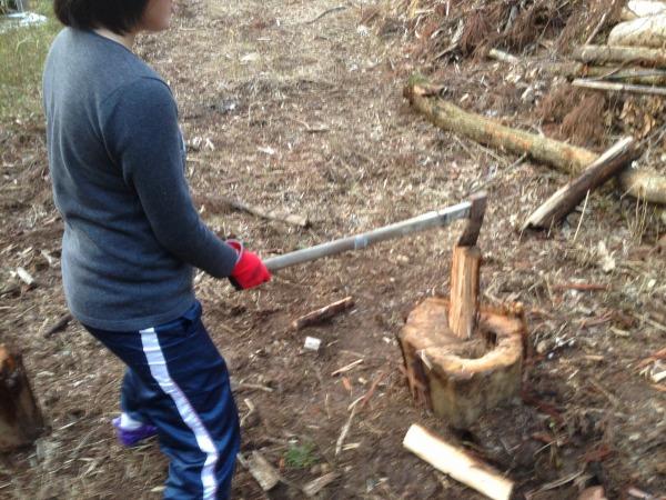 斧で娘が初薪割り!コツを見修得した!